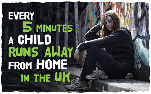 Every 5 minutes a child runs away from home in the UK