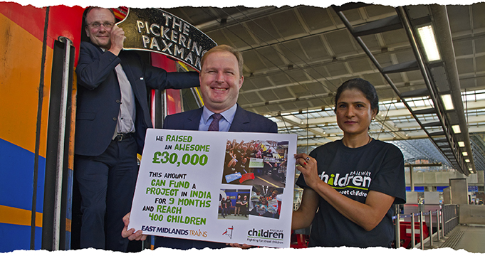 East Midlands Trains presents cheque to Railway Children